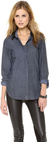 Rag & Bone The Classic Shirt with Leather Collar - Lyst