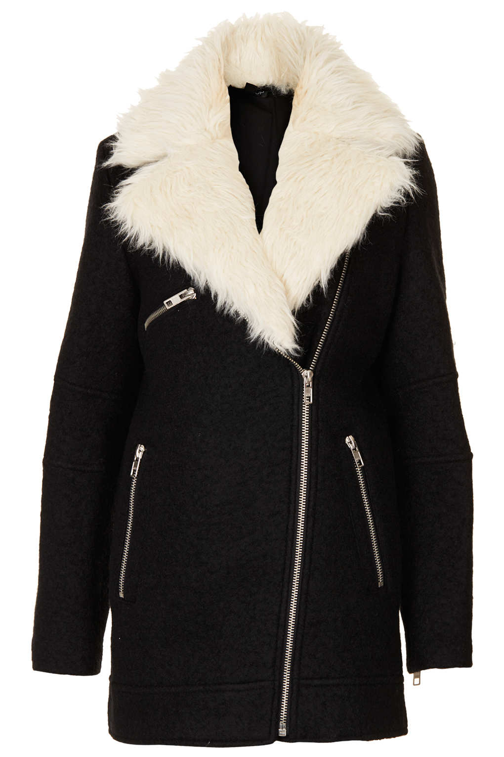 Topshop Fur Collar Textured Biker Jacket in Black | Lyst