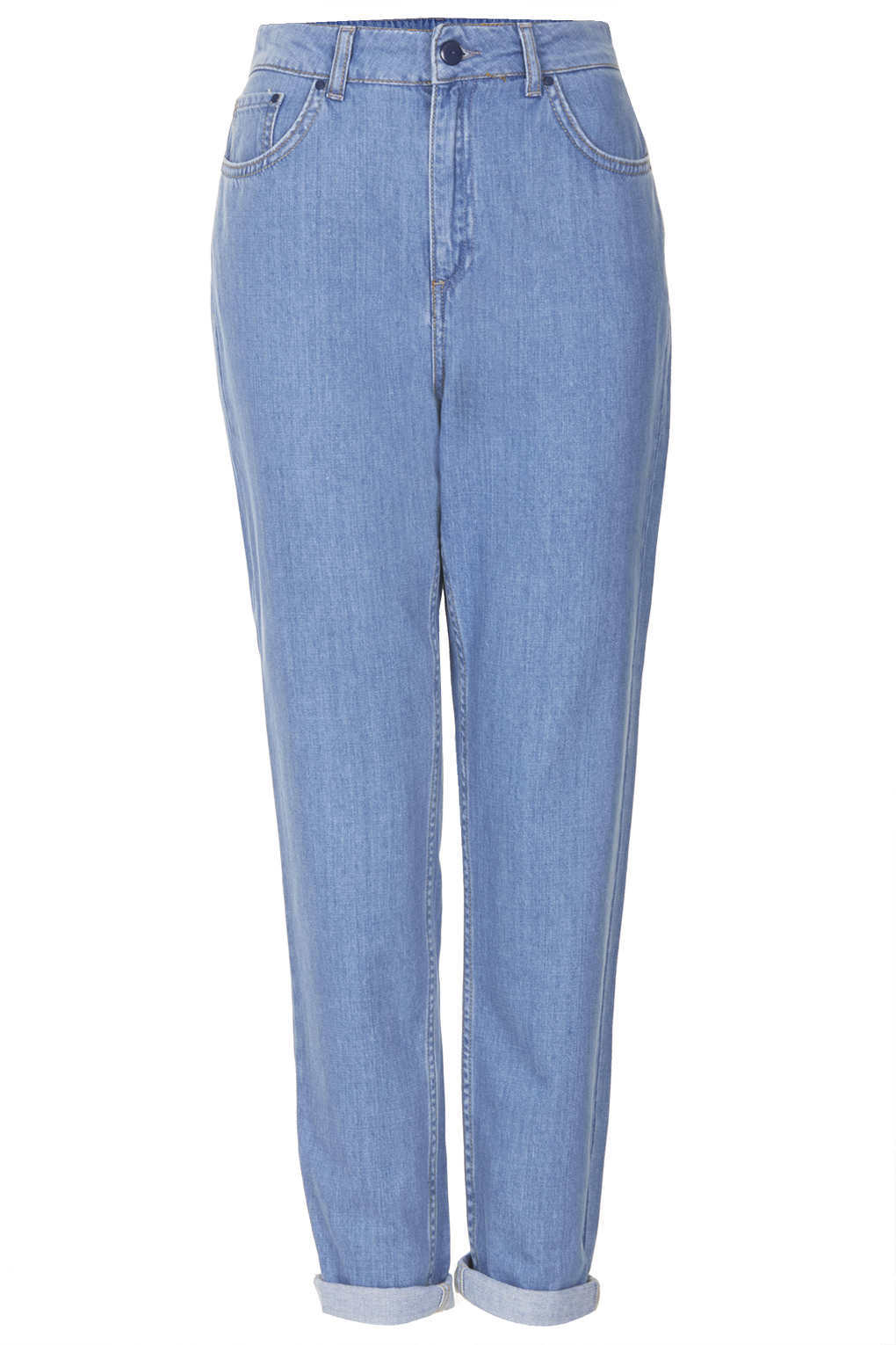 topshop bleach high waisted mom jeans in blue lyst. Black Bedroom Furniture Sets. Home Design Ideas