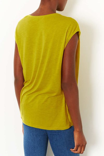 Topshop Drape Sleeveless Top in Yellow CHARTREUSE