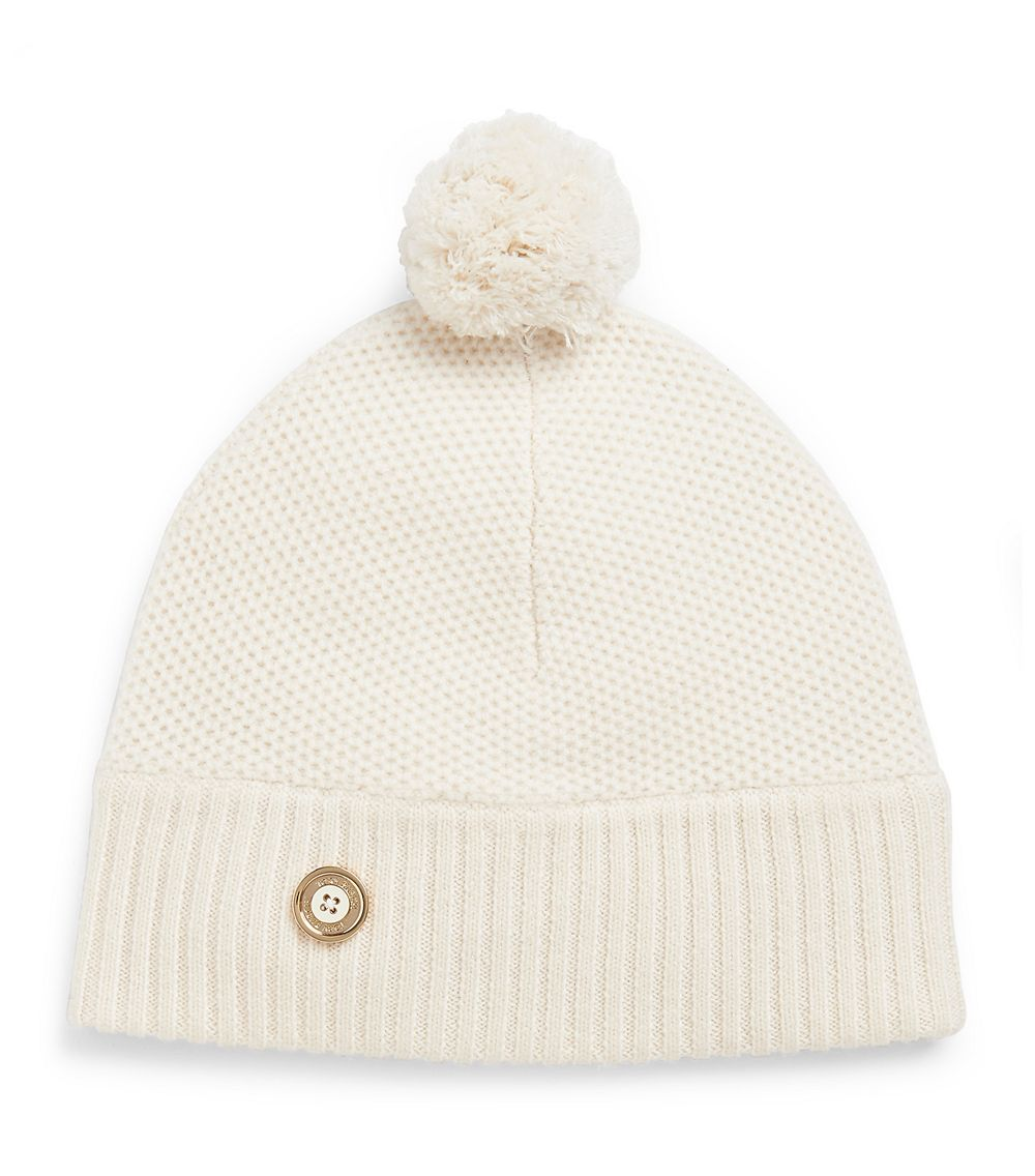 ce9a1e82f80 Lyst - Tory Burch Moss Cashmere Stitched Pompom Hat in White
