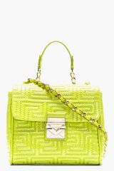 Versace Lime Green Patent Leather Logo Stitched Shoulder Bag - Lyst