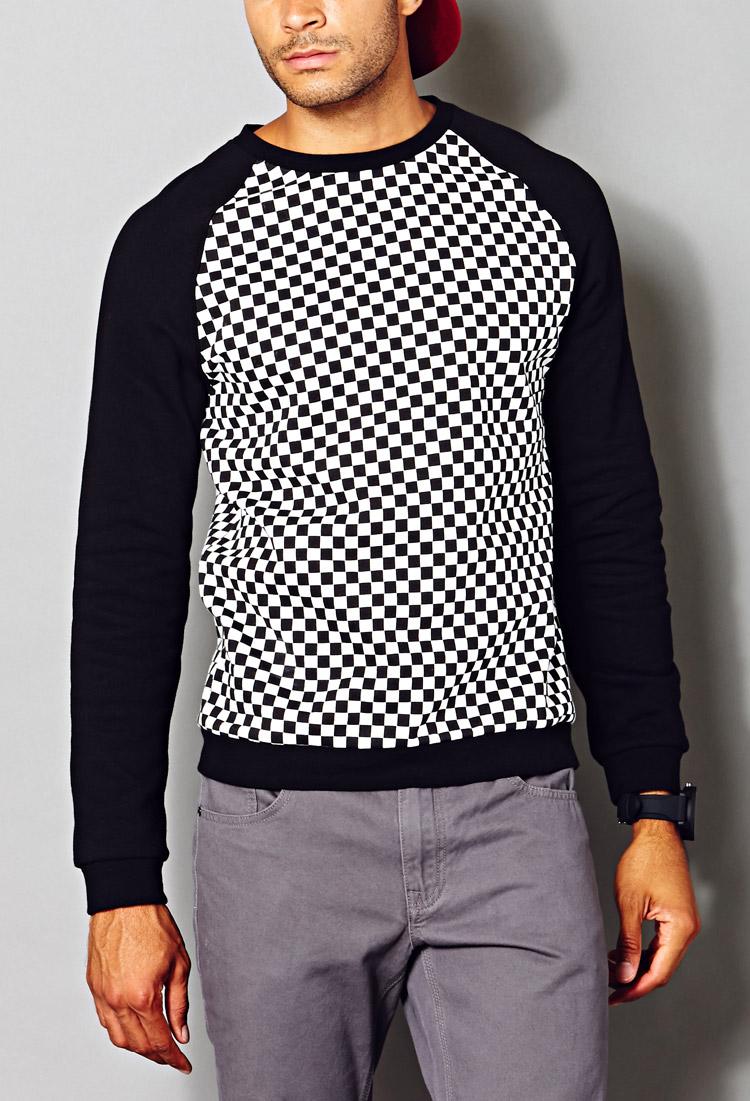 Forever 21 Checkered Raglan Sweatshirt in Blue for Men | Lyst