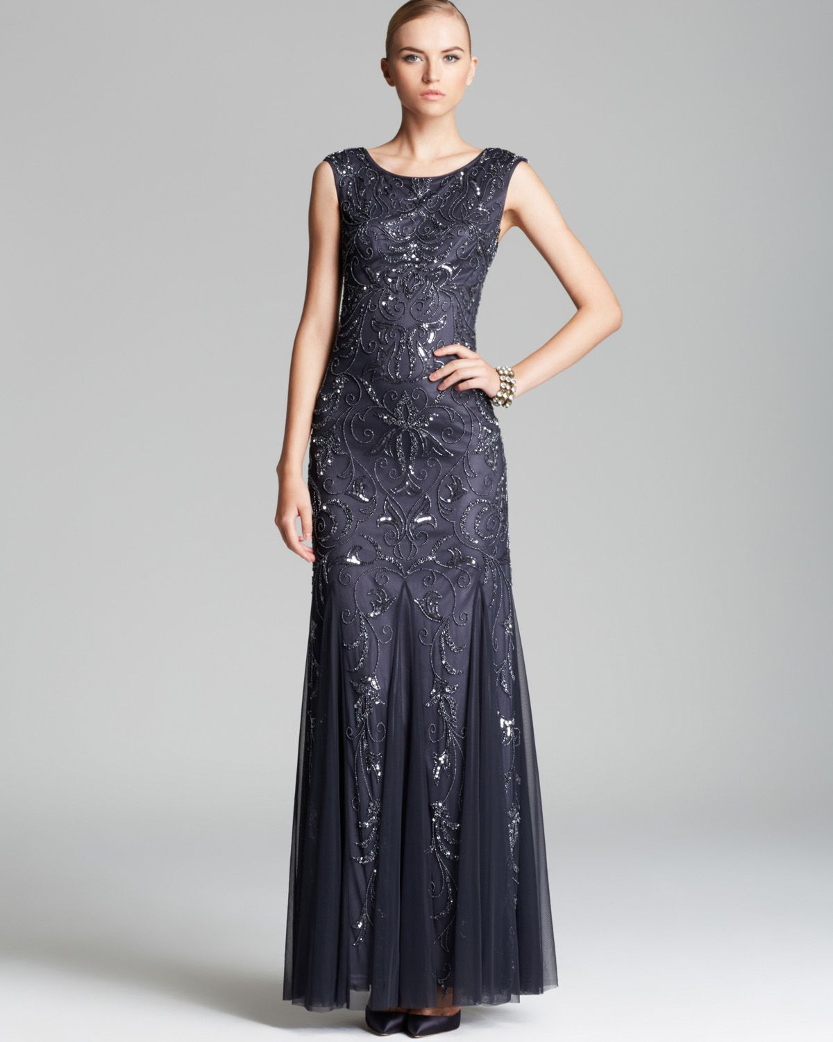 Adrianna Papell Cap Sleeve Beaded Gown In Gray (Charcoal
