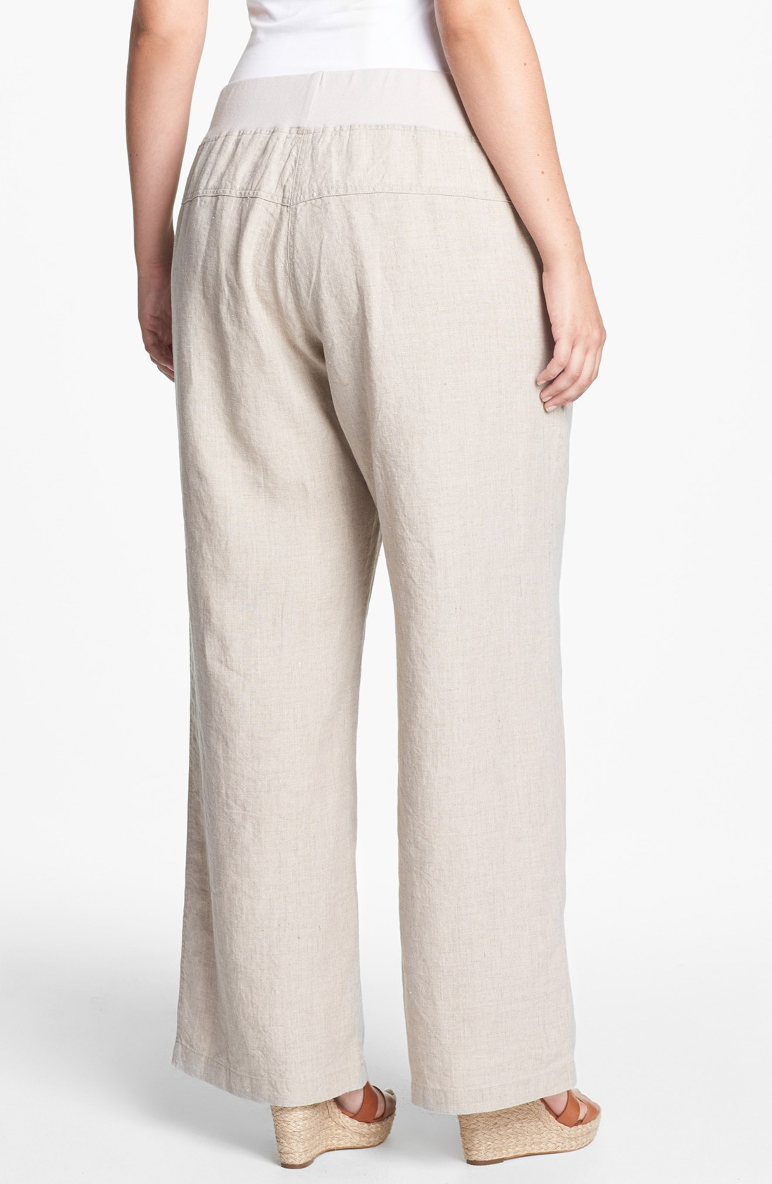 Elegant Lavish Linen Wide Leg Pant With Grosgrain  Womens Pants Amp Designer
