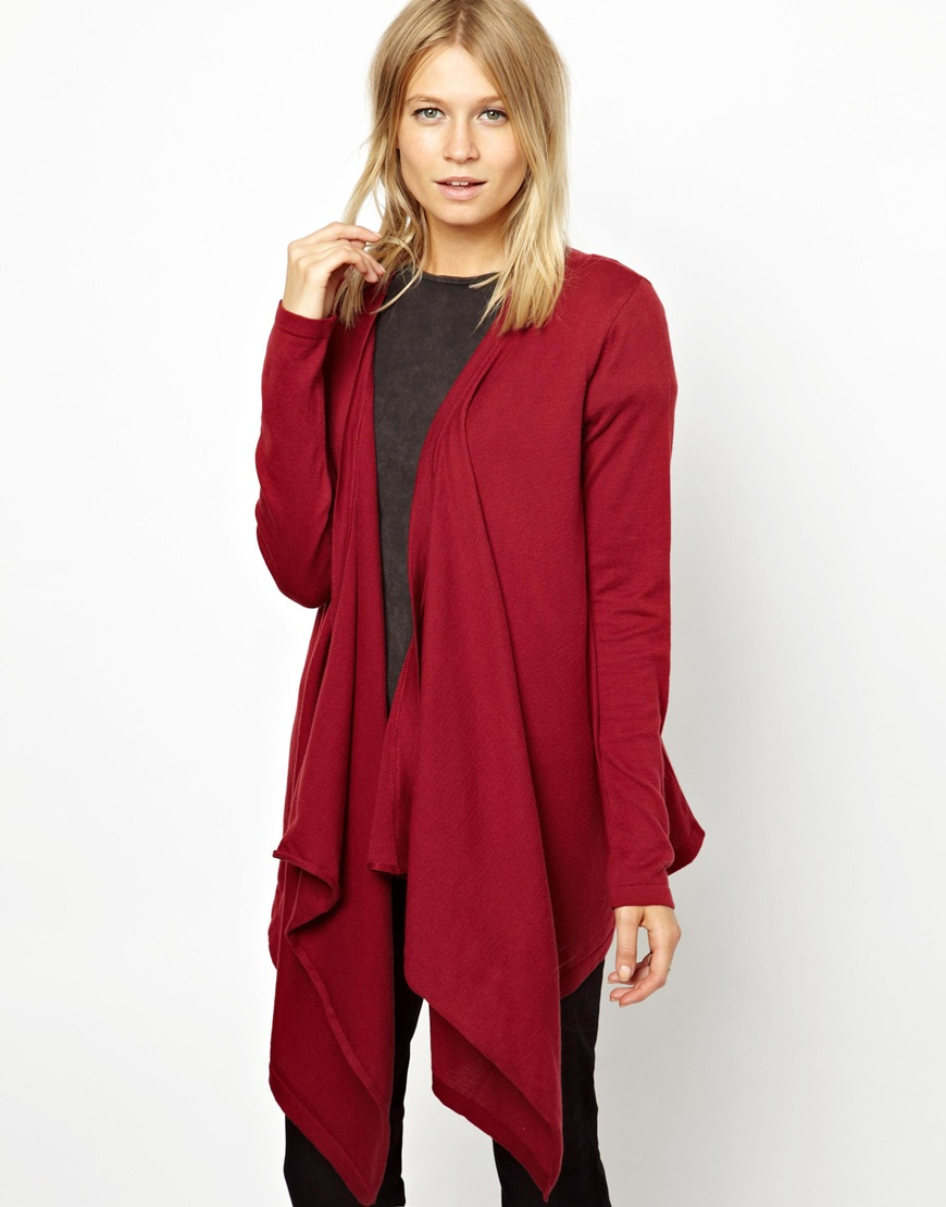 Asos Waterfall Cardigan in Red | Lyst