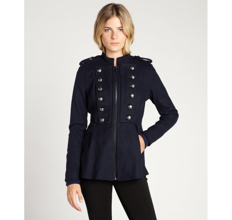 Bcbgeneration Navy Wool Blend Double Breasted Zip Front Flared ...