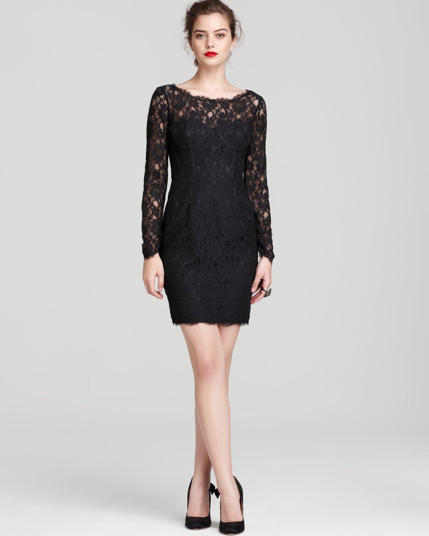 Black V Neck Long Sleeve Lace Dress 007834 Long Sleeve bdcf33297
