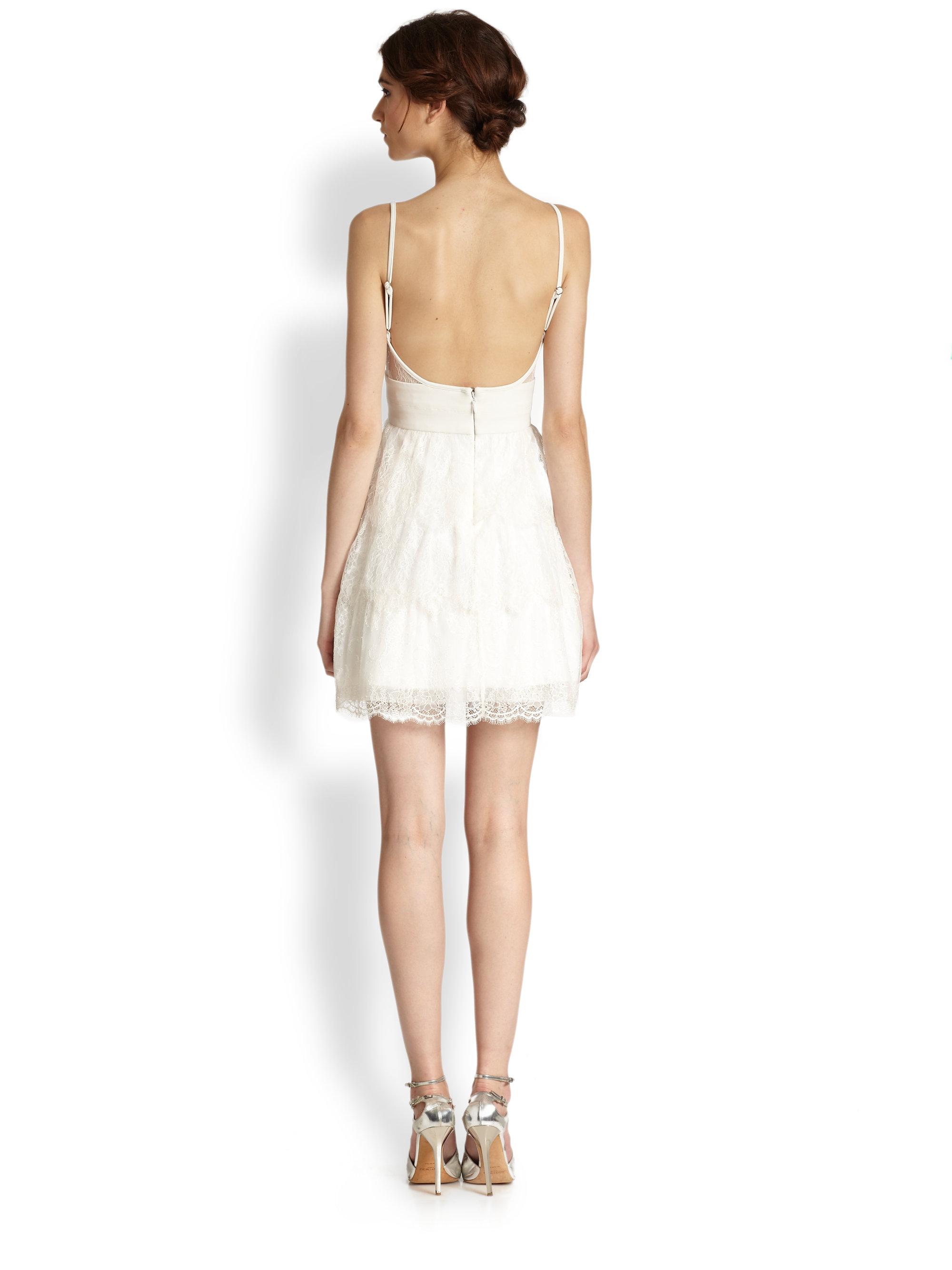 Bcbgmaxazria white tiered lace dress