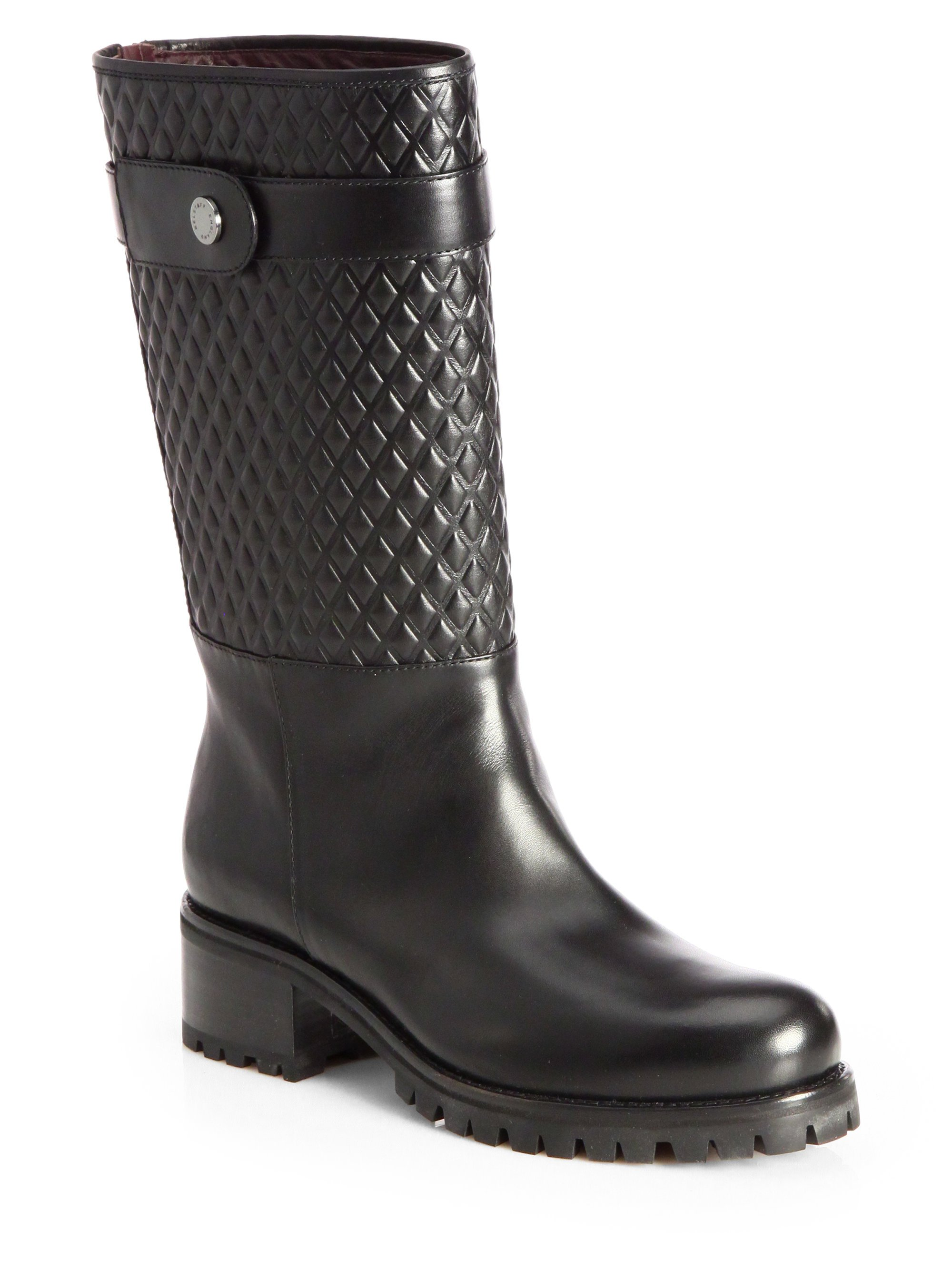 Belstaff Quilted Leather Lug Boots In Black Lyst