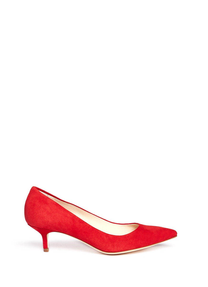 Brian atwood Suede Kitten Heel Pumps in Red | Lyst