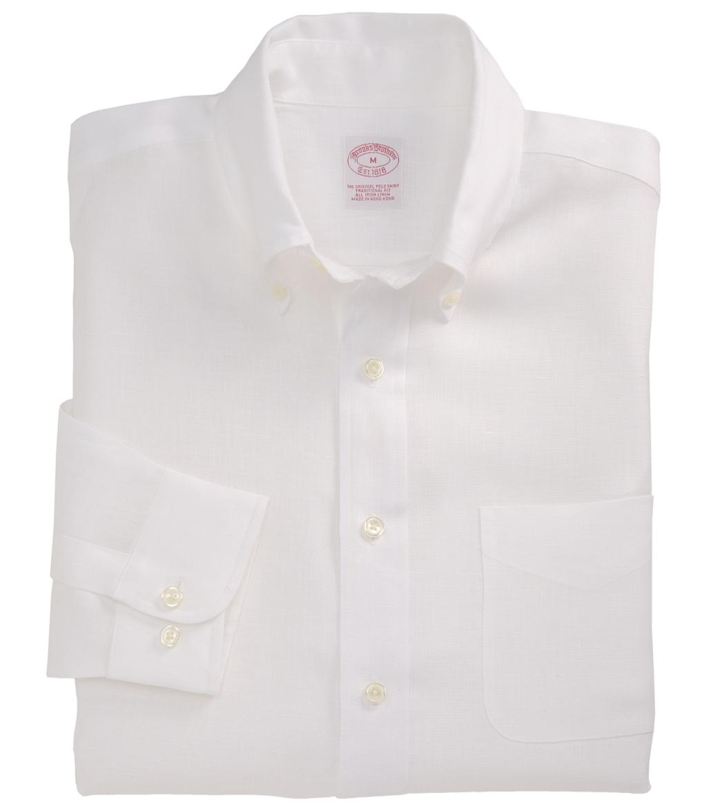 Brooks brothers irish linen sport shirt in white for men for Irish linen dress shirts