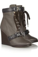 Chloé Shearlinglined Leather Wedge Ankle Boots - Lyst