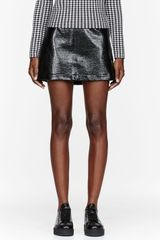 Chloë Sevigny For Opening Ceremony Black Coated Tweed Mini Skirt - Lyst