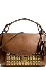 Coach Legacy Archival Lock Satchel in Studded Leather in Brown (ANTIQUE BRASSSADDLE) - Lyst