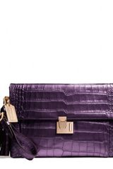 Coach Legacy Lock Clutch in Liquid Metallic Croc - Lyst