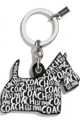 Coach Printed Leather Scottie Key Ring - Lyst