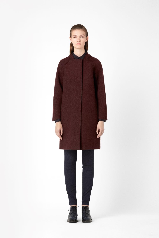 Cos Raw Edge Wool Coat In Red Maroon Lyst