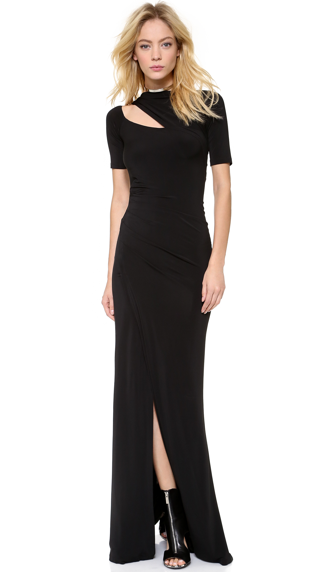 Donna karan new york one shoulder evening gown in black lyst for Donna karen new york