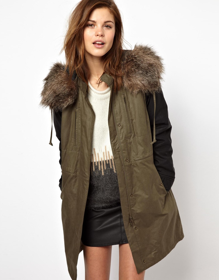 French connection Military Parade Parka with Faux Leather Sleeves ...