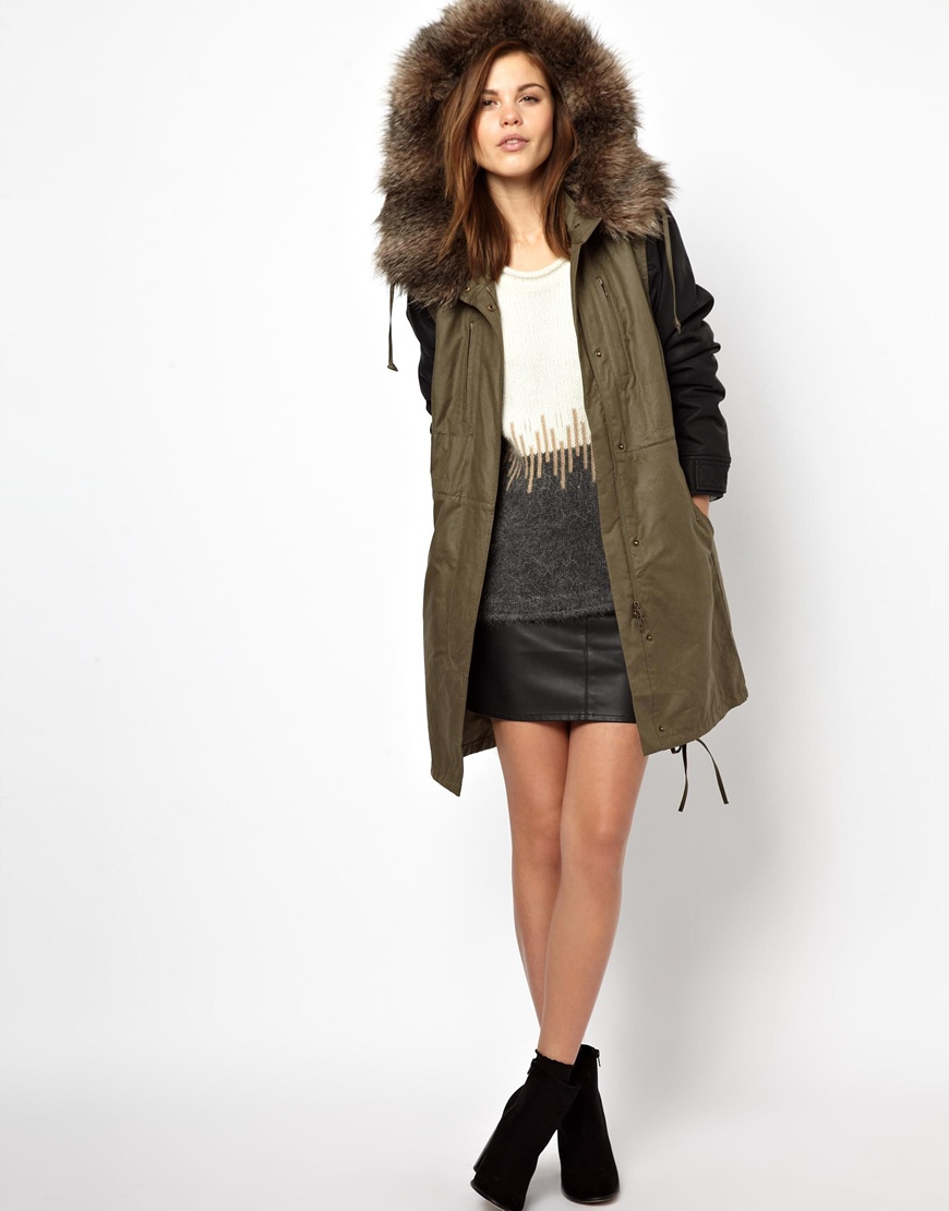Faux leather sleeve parka