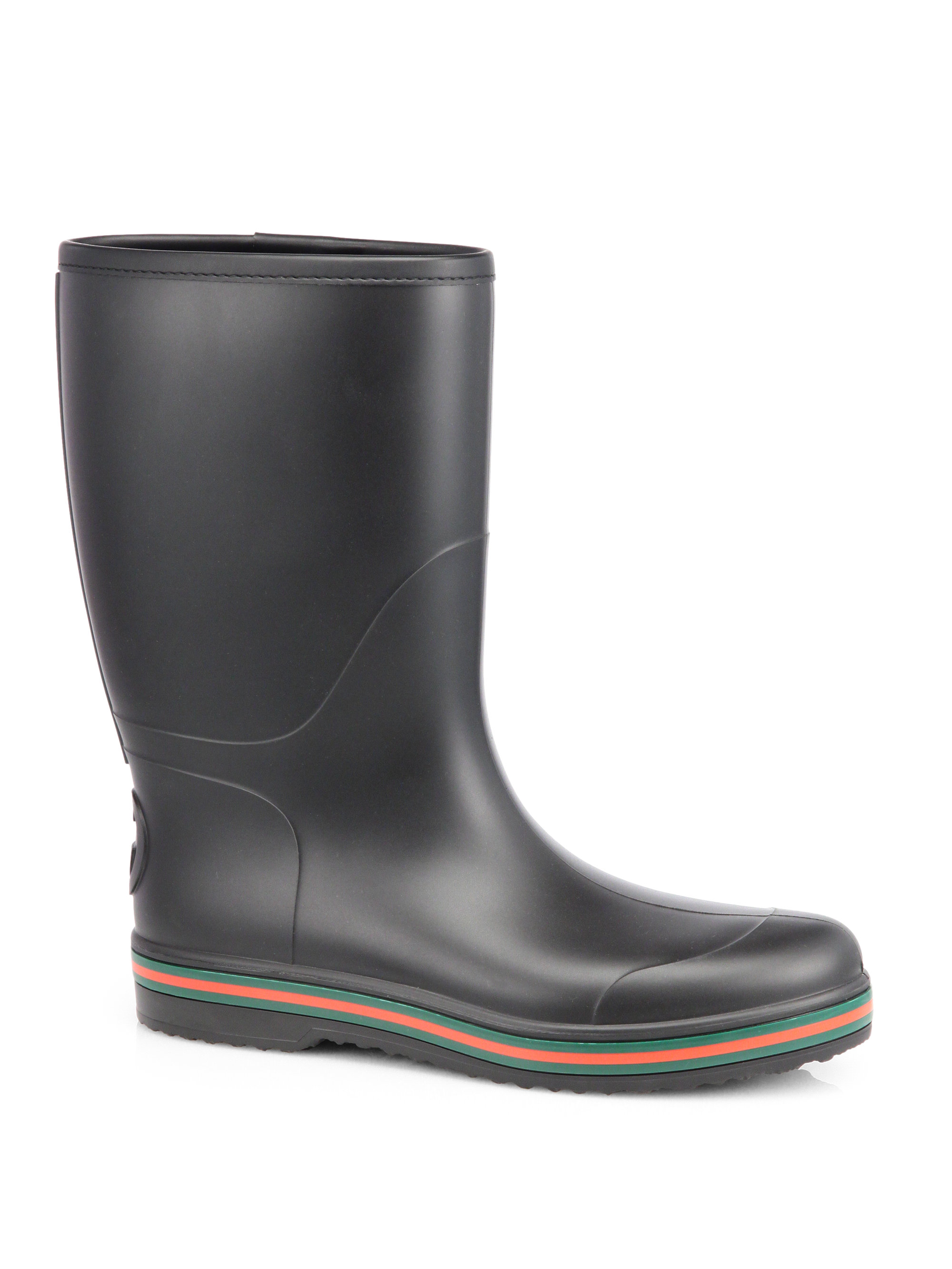 lyst gucci rubber rain boots in black for men