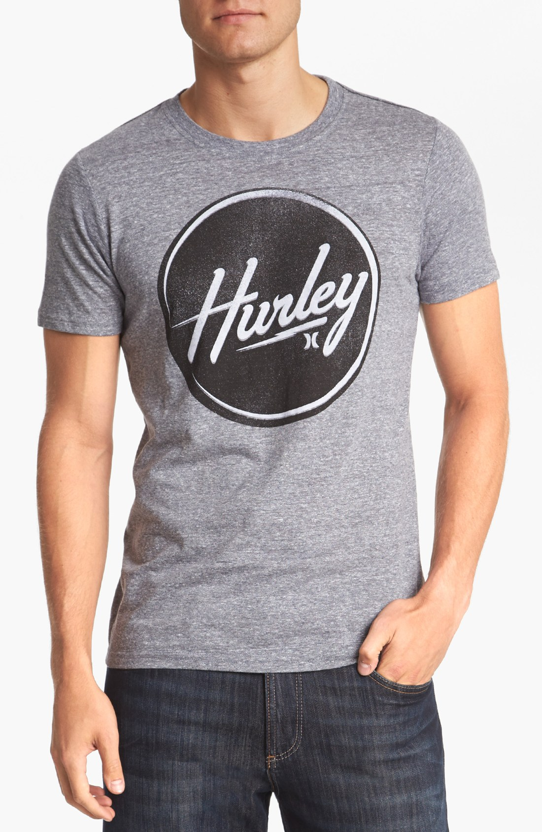 Lyst Hurley Stamped Out Tshirt In Gray For Men T Shirt Gallery