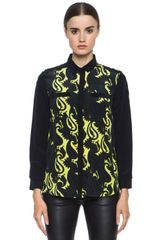 Jenni Kayne Printed Silk Long Sleeve Top - Lyst