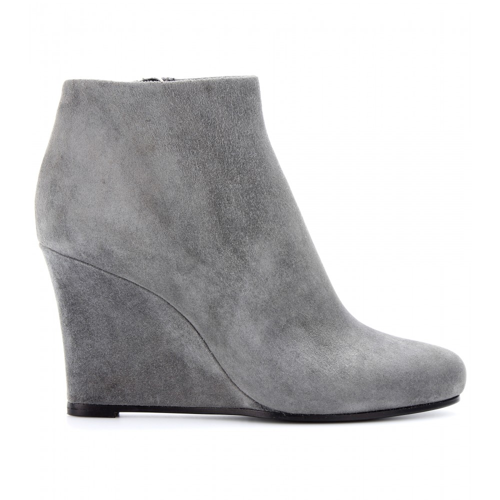 Jil sander Suede Wedge Ankle Boots in Gray | Lyst