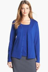 Jones New York Cotton Blend Cardigan - Lyst