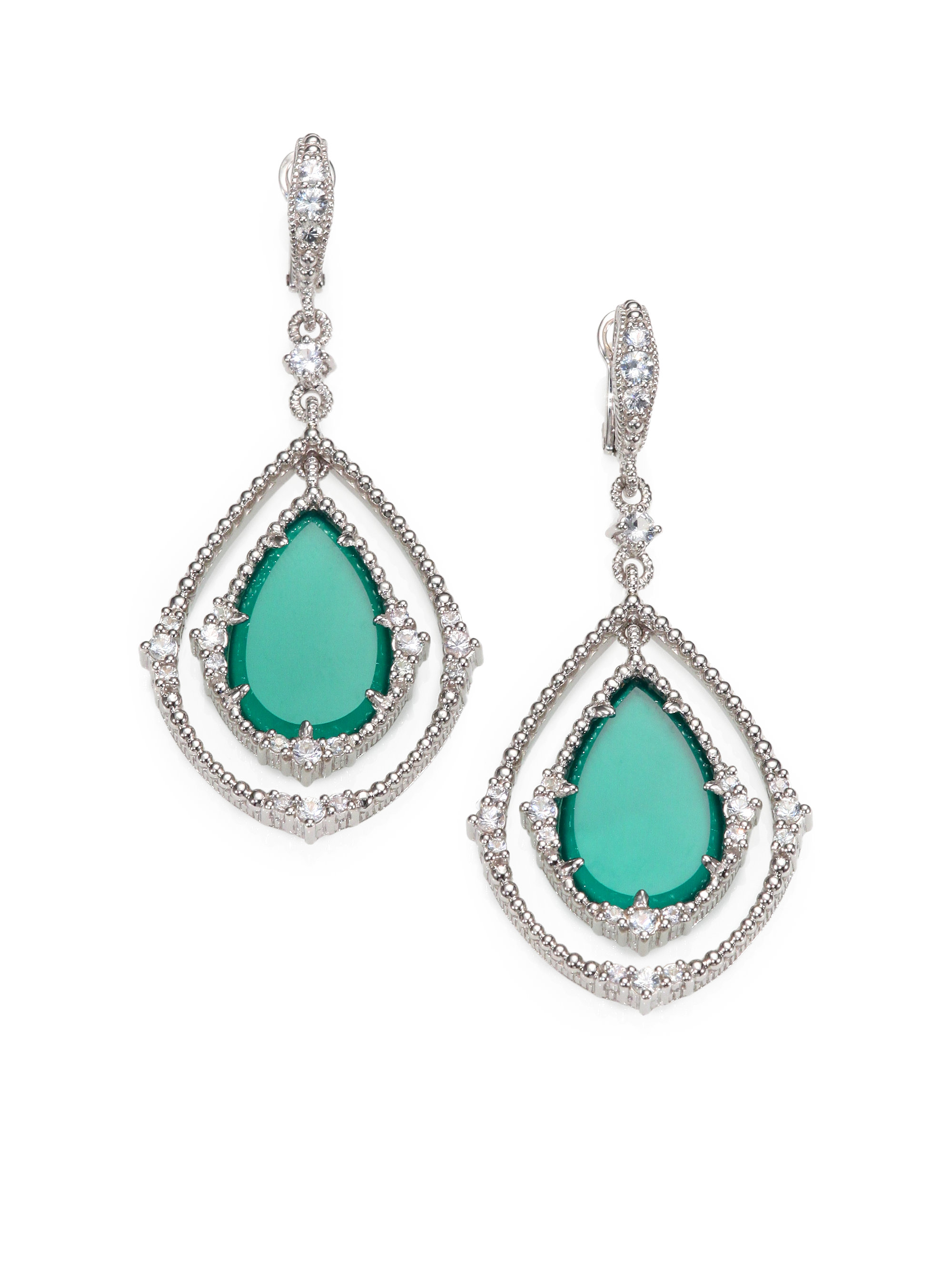 Judith Ripka White Sapphire Green Chalcedony And Sterling