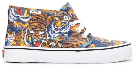 Kenzo Flying Tiger Chukka Printed Sneakers in Multicolor  blue Kenzo Flying Tiger Shoes
