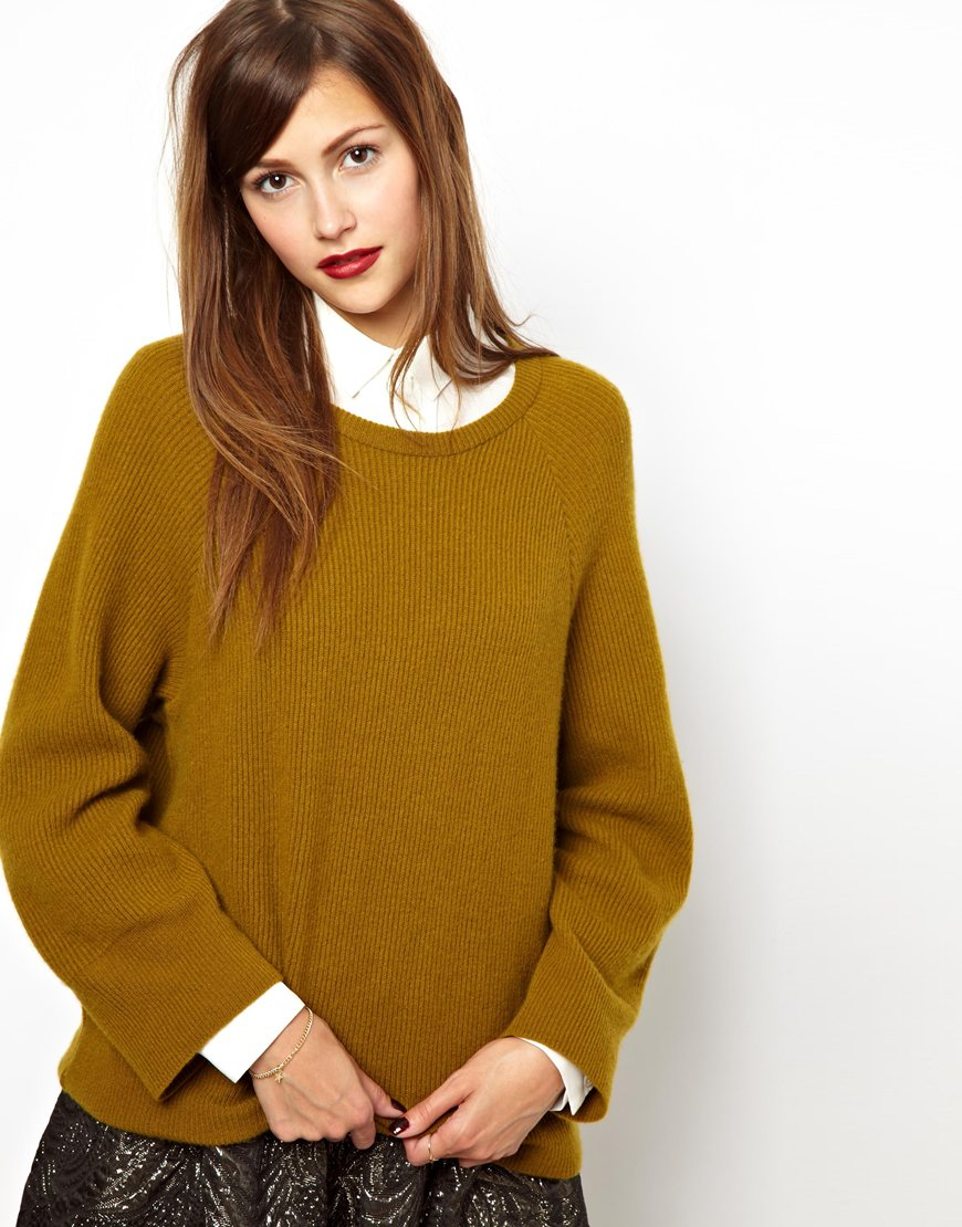 Les prairies de paris Oversized Cashmere Jumper in Mustard in ...