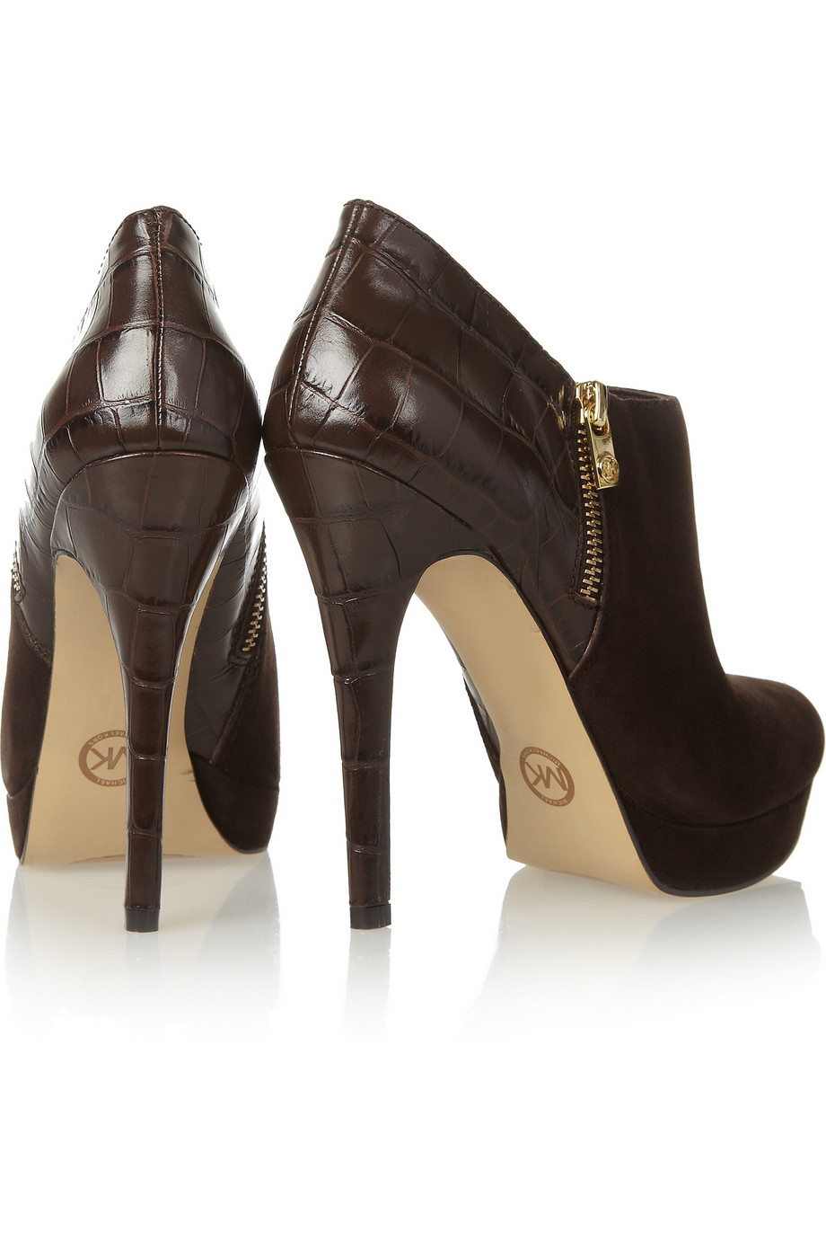 Michael Michael Kors York Croceffect Leather And Suede