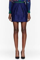 MSGM Navy Neoprene Embossed Skirt - Lyst