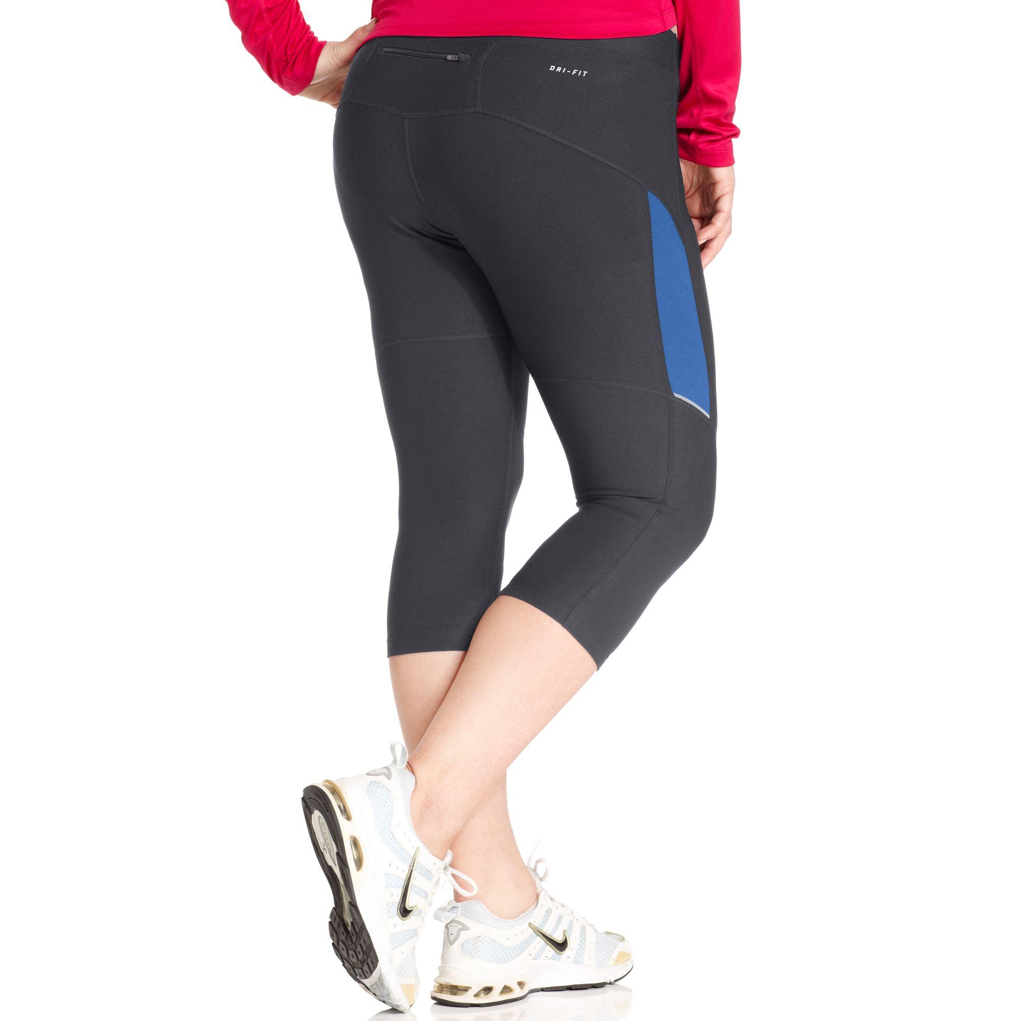 Nike Drifit Active Capri Leggings in Gray (anthracite/distance blue) | Lyst