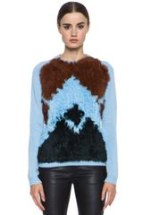 Opening Ceremony Chance Fur Argyle Crewneck - Lyst