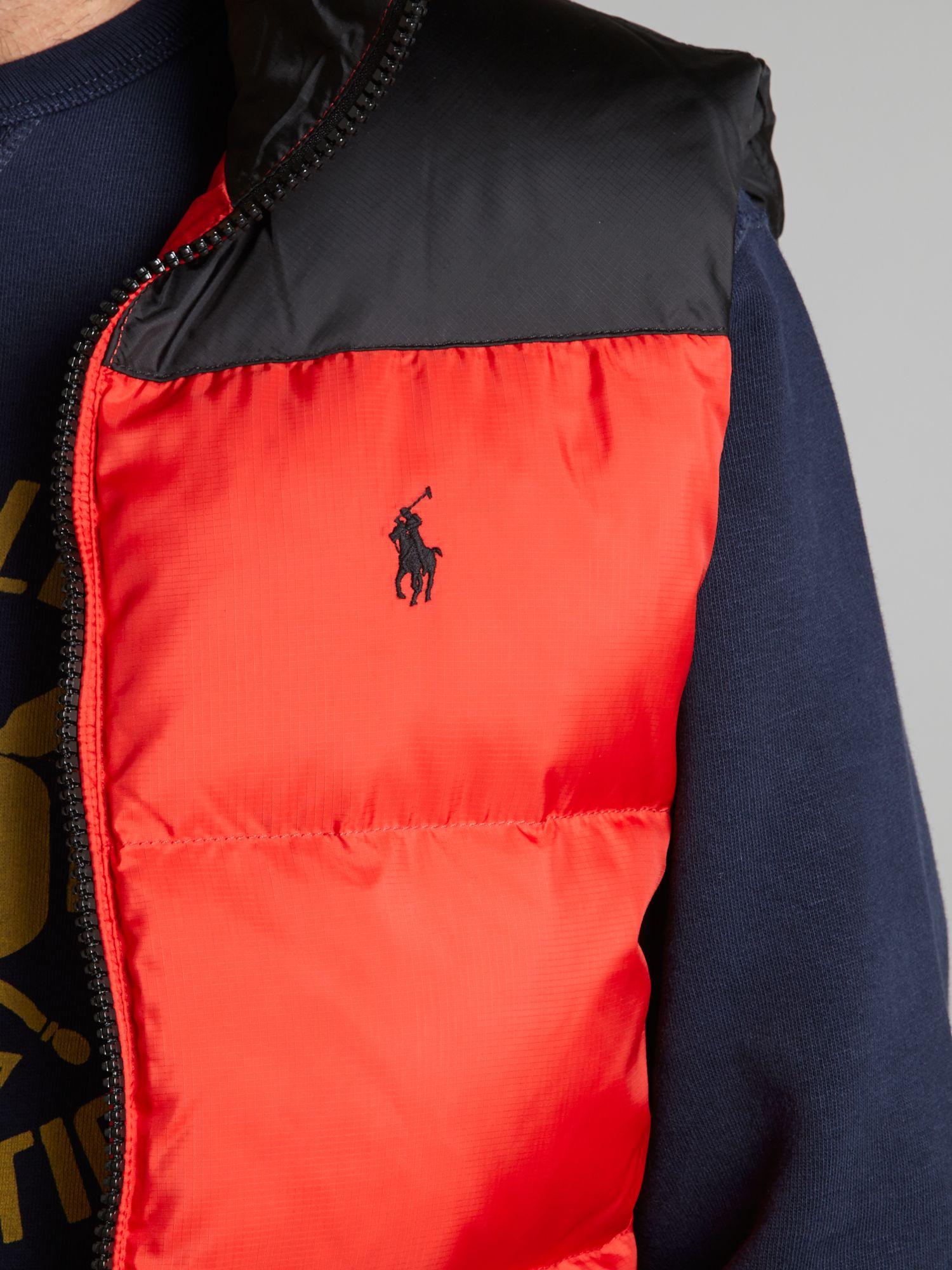 polo ralph lauren core trek padded gilet in red for men lyst. Black Bedroom Furniture Sets. Home Design Ideas