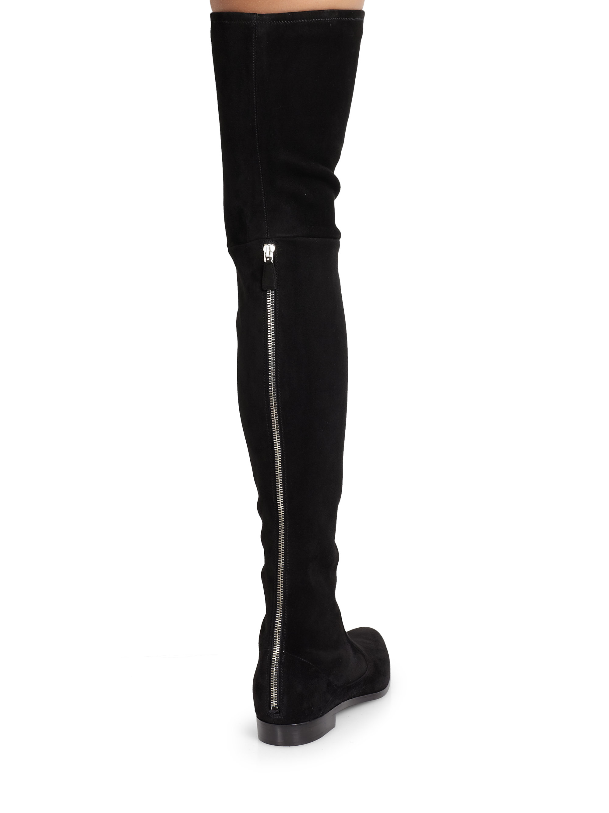 d31b6072804 Lyst - Prada Suede Over-the-knee Boots in Black