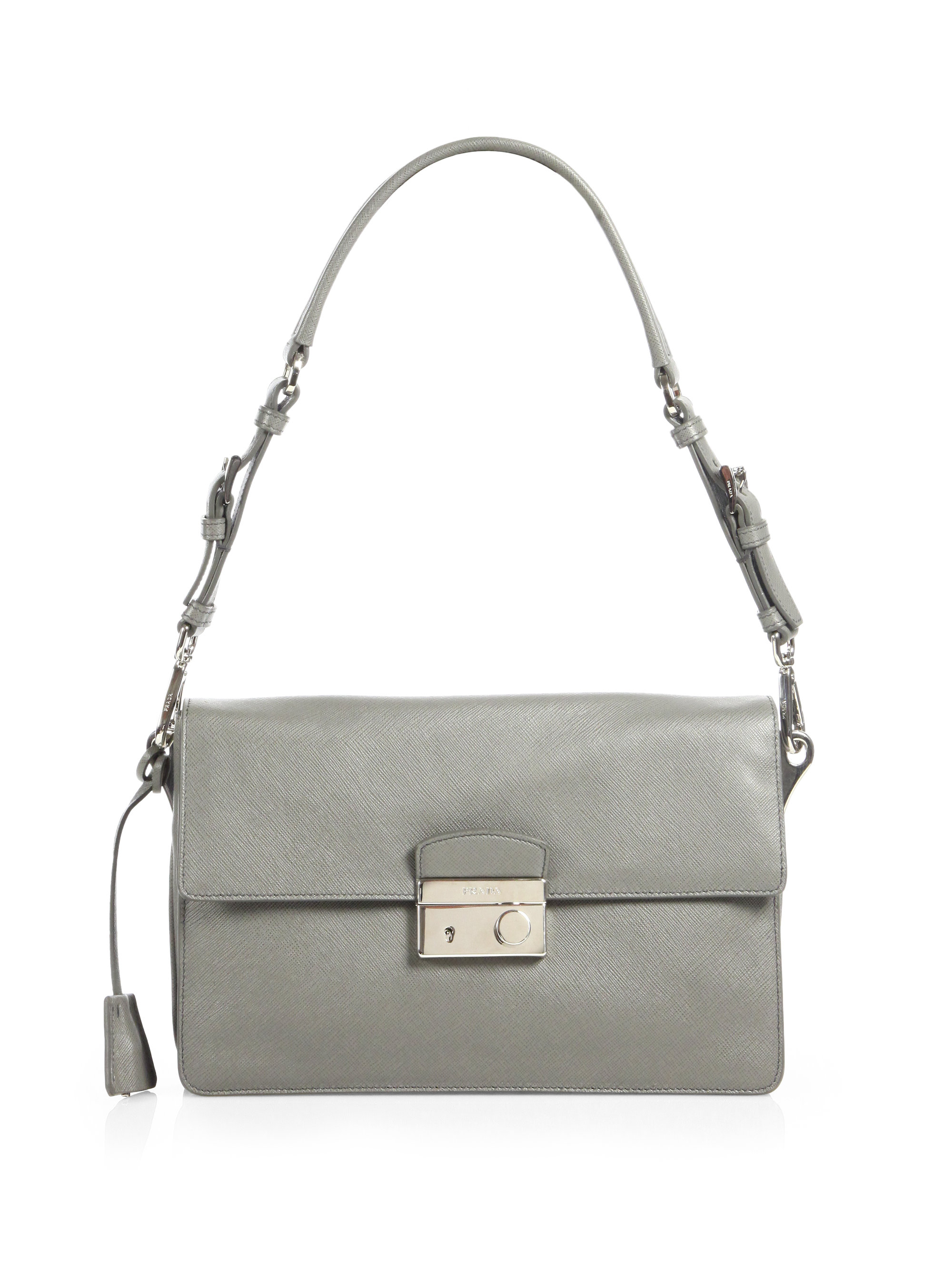 Prada Saffiano Soft Sound Bag in Gray (GREY) | Lyst