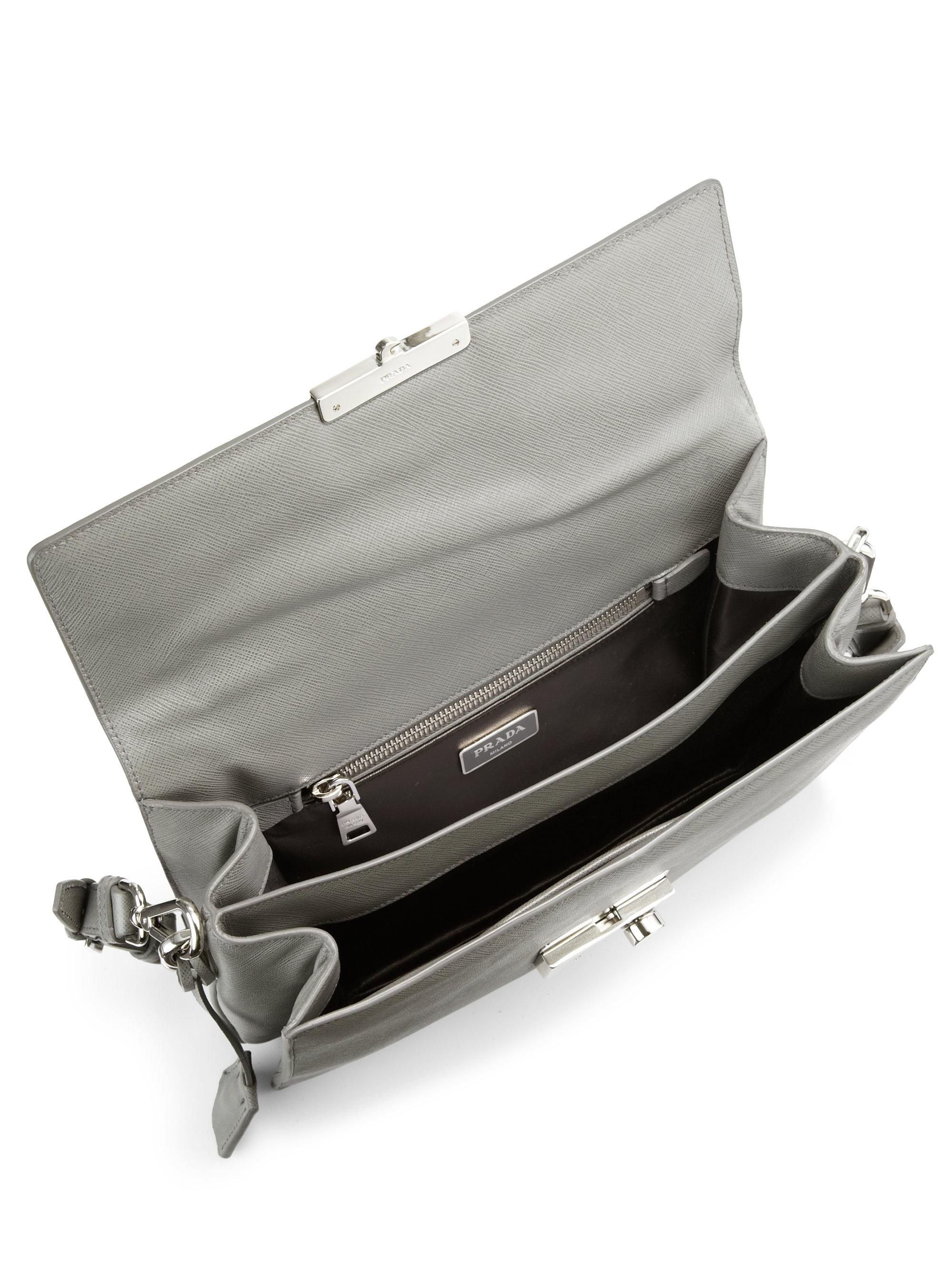 53bc60436d00 Prada Saffiano Soft Sound Bag in Gray - Lyst