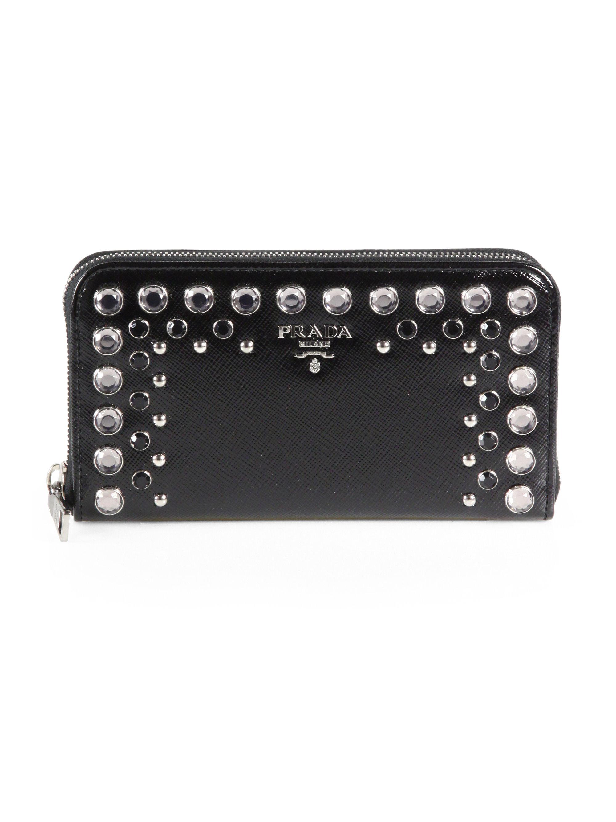 Prada Studded Saffiano Vernice Ziparound Wallet in Black (NERO ...