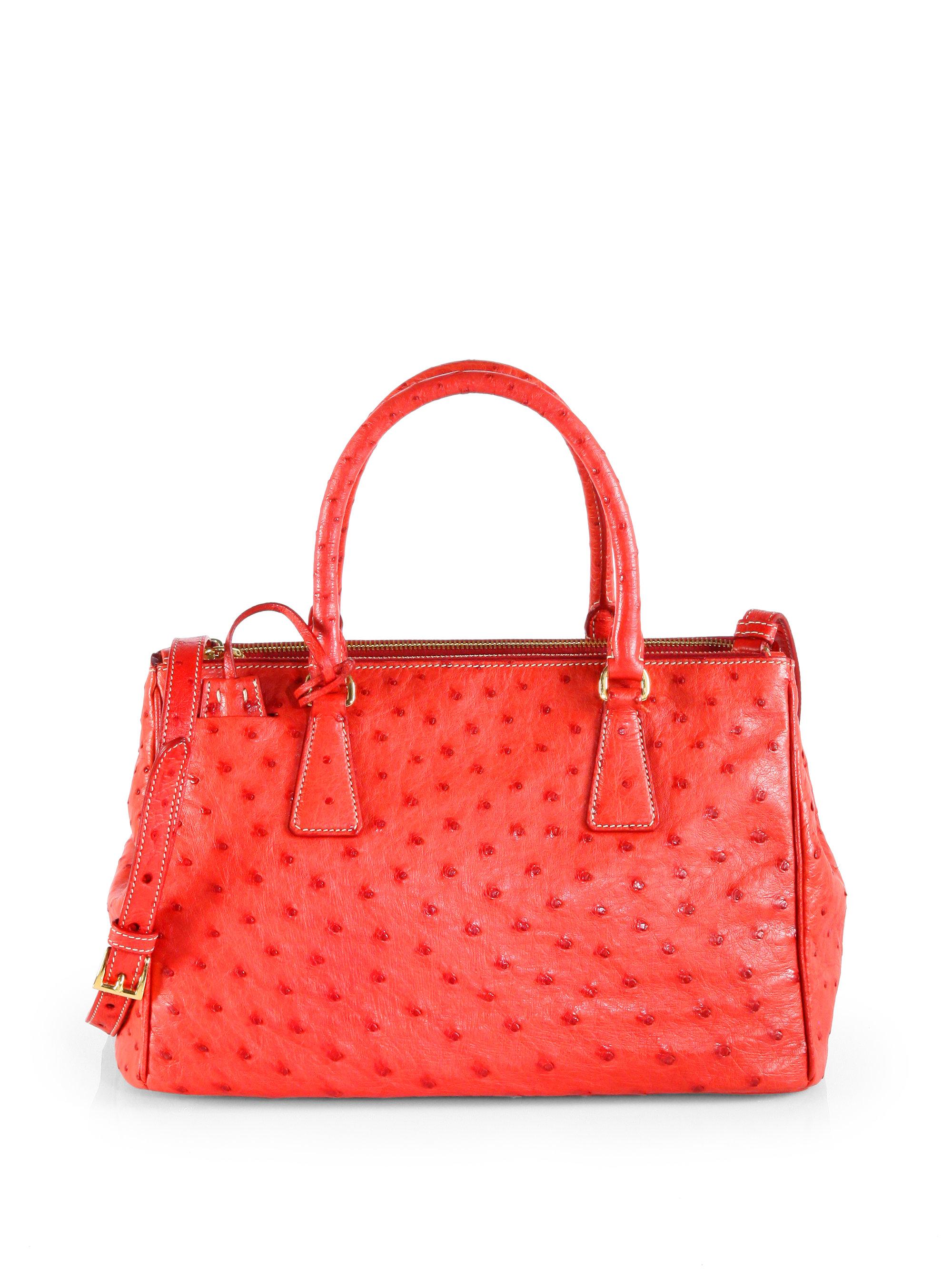 de7f15bb17e Lyst - Prada Ostrich Double Zip Tote in Red