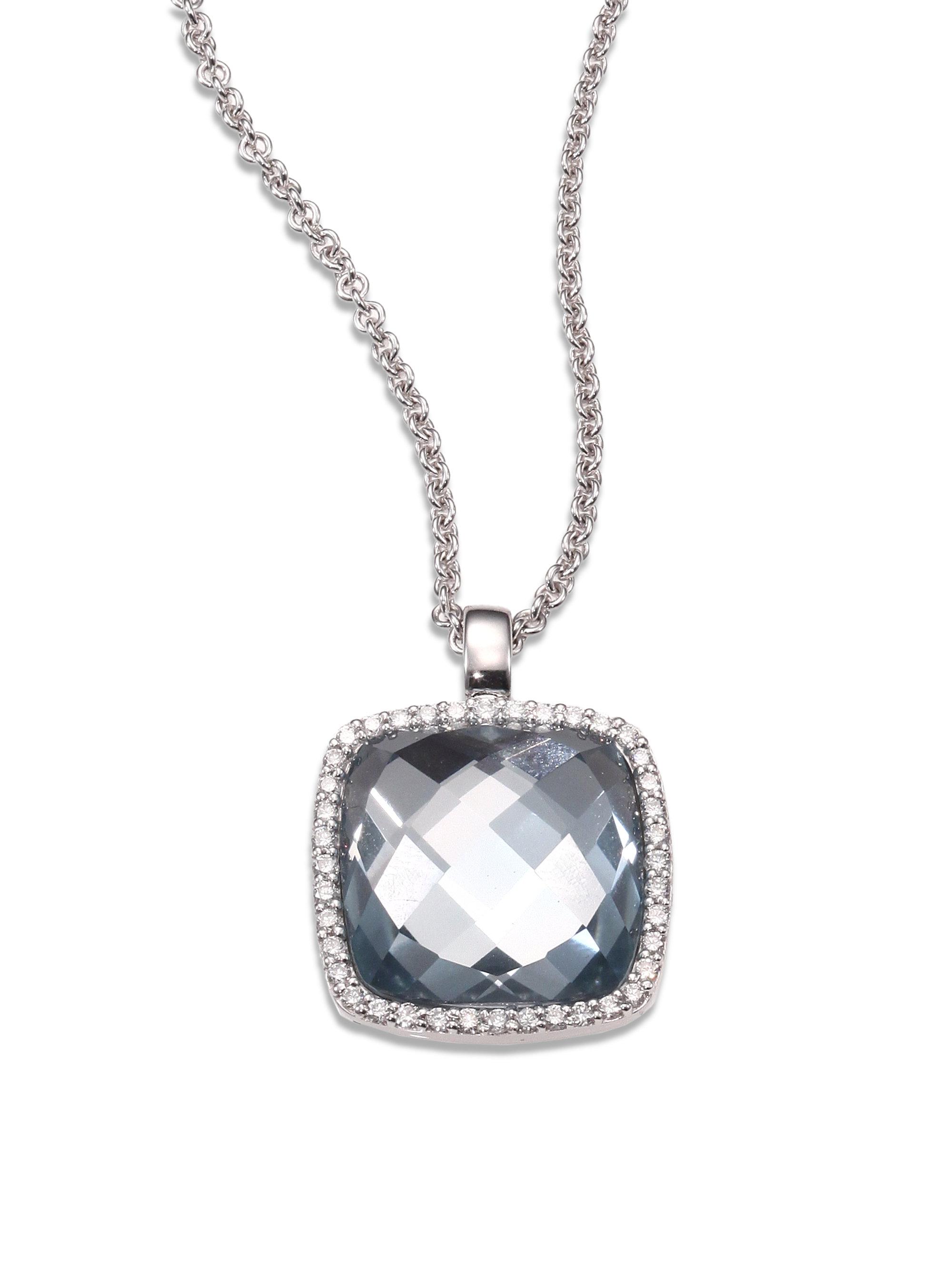 roberto coin blue topaz diamond 18k white gold pendant. Black Bedroom Furniture Sets. Home Design Ideas