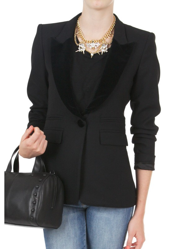 Smythe Peaked Lapel Tuxedo Blazer In Black Black Lyst