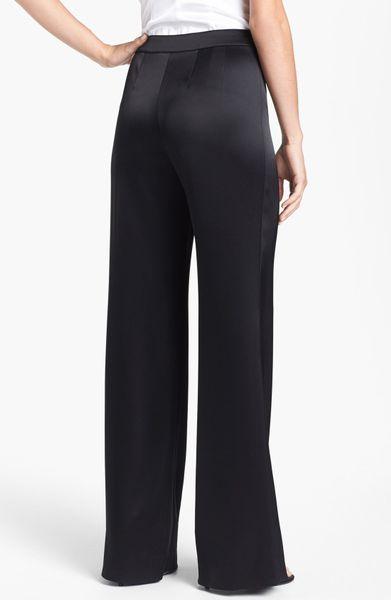 St John Diana Wide Leg Liquid Satin Pants In Black
