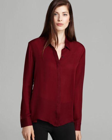 Dark Red Silk Blouse 38