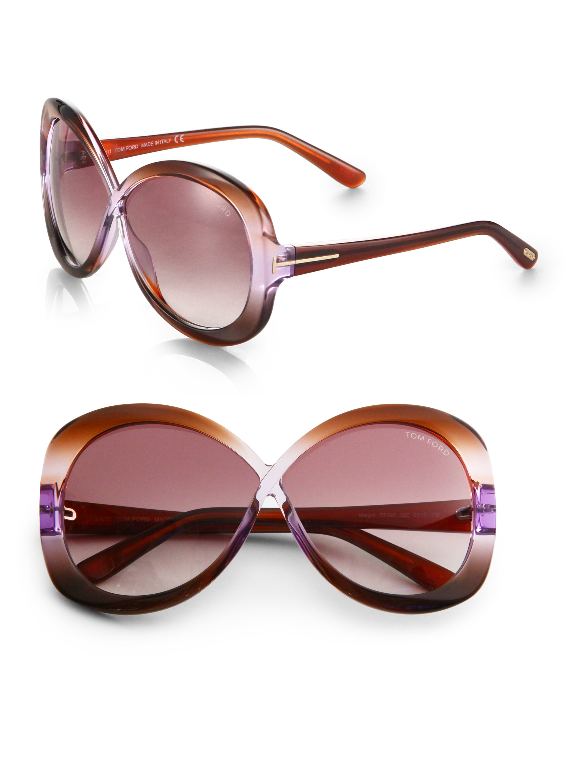 d7a7ee8d6bb Lyst - Tom Ford Margot Plastic Oversized Round Crossover Sunglasses ...