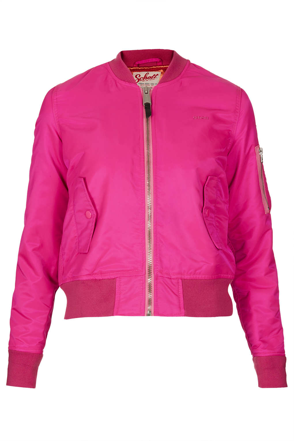 Topshop Bomber Jacket By Schott Nyc in Pink