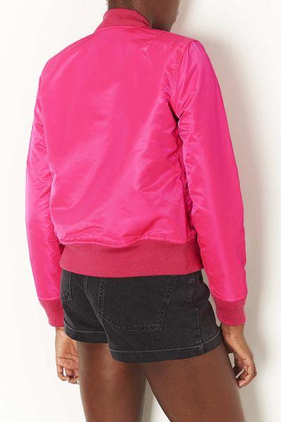 Topshop Bomber Jacket By Schott Nyc In Pink Fluro Pink